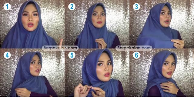 Style Keempat Tutorial Hijab Segi Empat Ala Ria Ricis (Terbaru 2019)