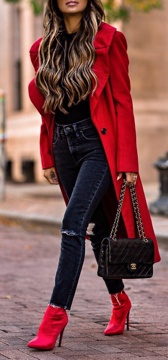 red and black | coat + top + skinnies + bag + boots