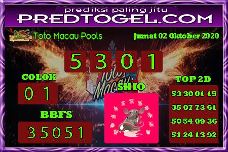Pred Macau Jumat 02 Oktober 2020