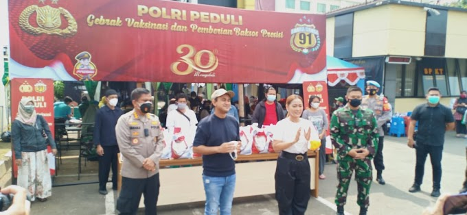 HUT Alumni Akpol tahun 1991, Polrestro Depok Gelar Gebrak Vaksinasi dan Pemberian Bansos