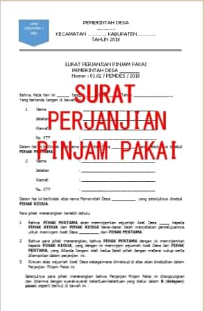 Contoh Format Surat Perjanjian Pinjam Pakai Dan Addendum Nya Format Administrasi Desa