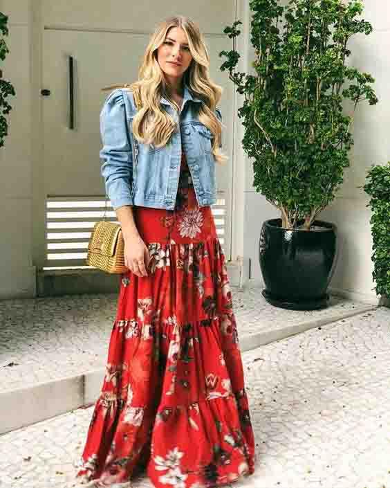 Jaqueta jeans e vestido: combinação perfeita para o outono