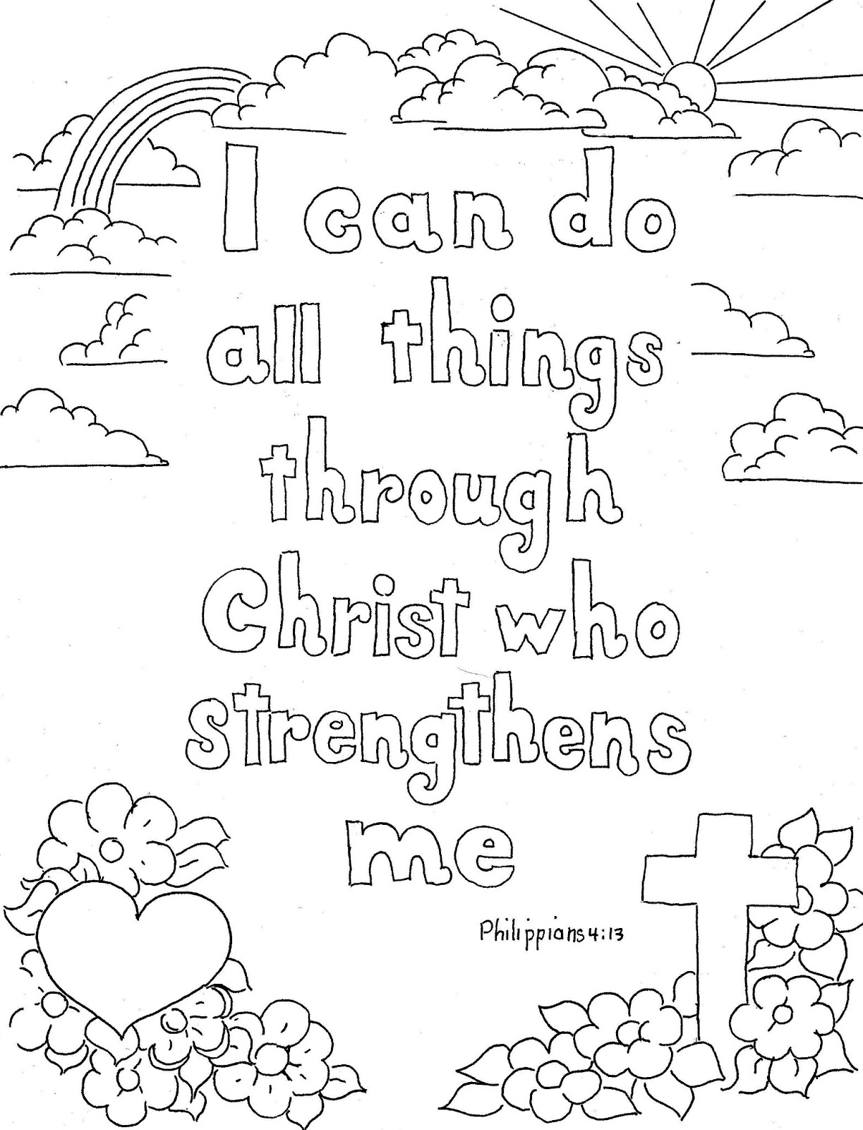 i can do all things print and color page - Christian Coloring Pages For Adults