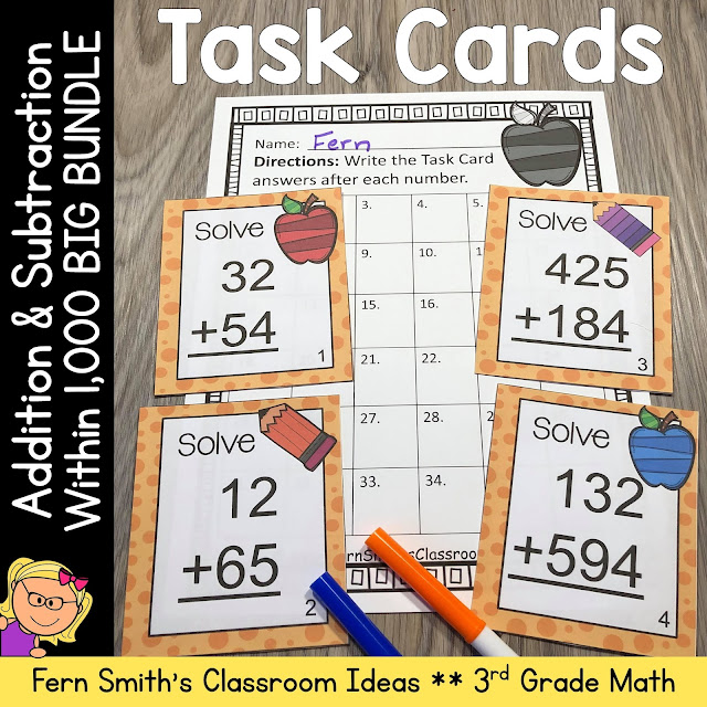 3rd Grade Go Math Chapter 1 Addition & Subtraction Within 1,00 Task Cards Bundle