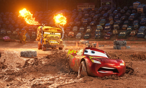 Lightning McQueen (Owen Wilson) gets caught in the mud during the Thunder Hollow demolition-derby scene in CARS 3 (2017)