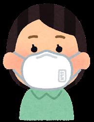 N95マスクをつけた人のイラスト(女性)