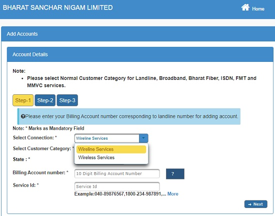 How to Manage all services at portal bsnl selfcare.bsnl.co.in?