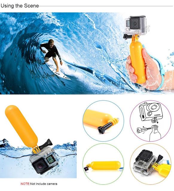 Maner plutitor pt scufundari Action Sport Camera GoPro, SJ Cam, Xiaomi