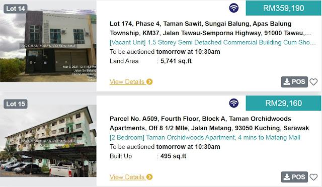 Rumah Apartment di Kuching Sarawak di Lelong bermula pada harga RM30 ribu