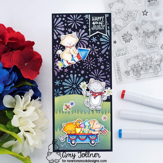 Happy 4th of July by Amy features Newton's 4th of July, Woodland Spring, Fireworks, and Frames & Flags by Newton's Nook Designs; #inkypaws, #newtonsnook, #cardmaking, #catcards