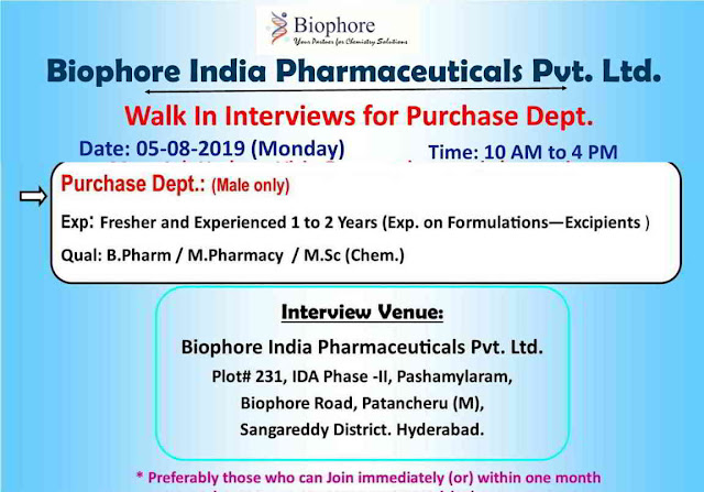 Biophore India - Walk-in interview for Freshers and Experienced candidates on 5th August, 2019