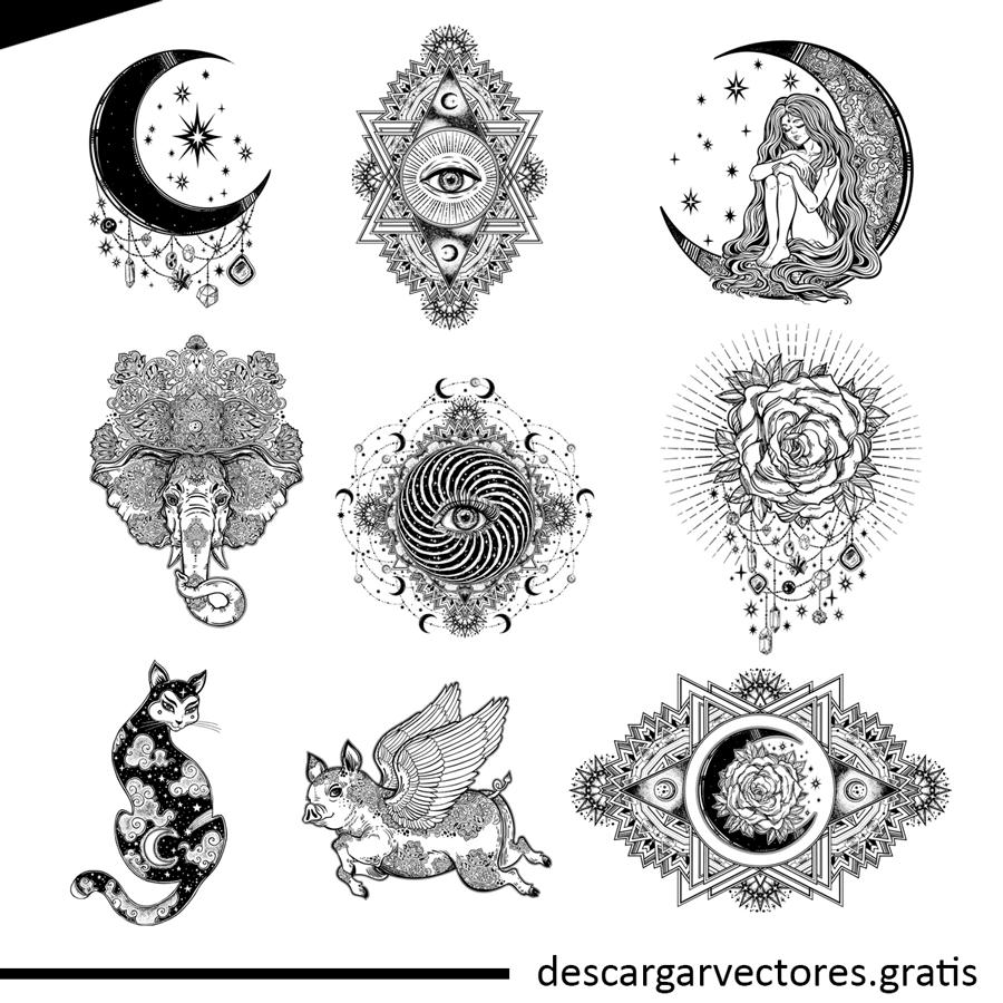 vectores de adornos hindu