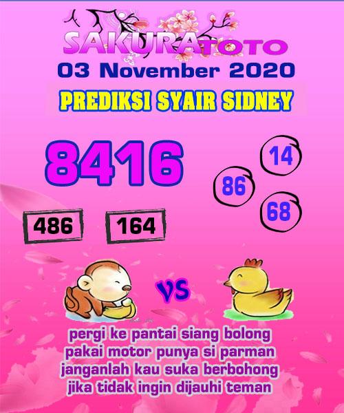 Syair Sakuratoto Sidney Selasa 03 November 2020