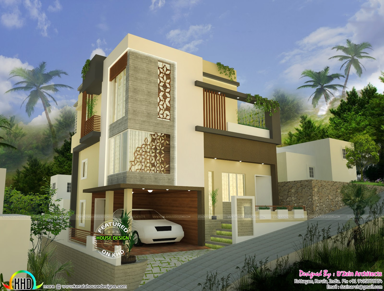 Modern style home design at 2 5 cents kerala home design for Home designs 2017 kerala