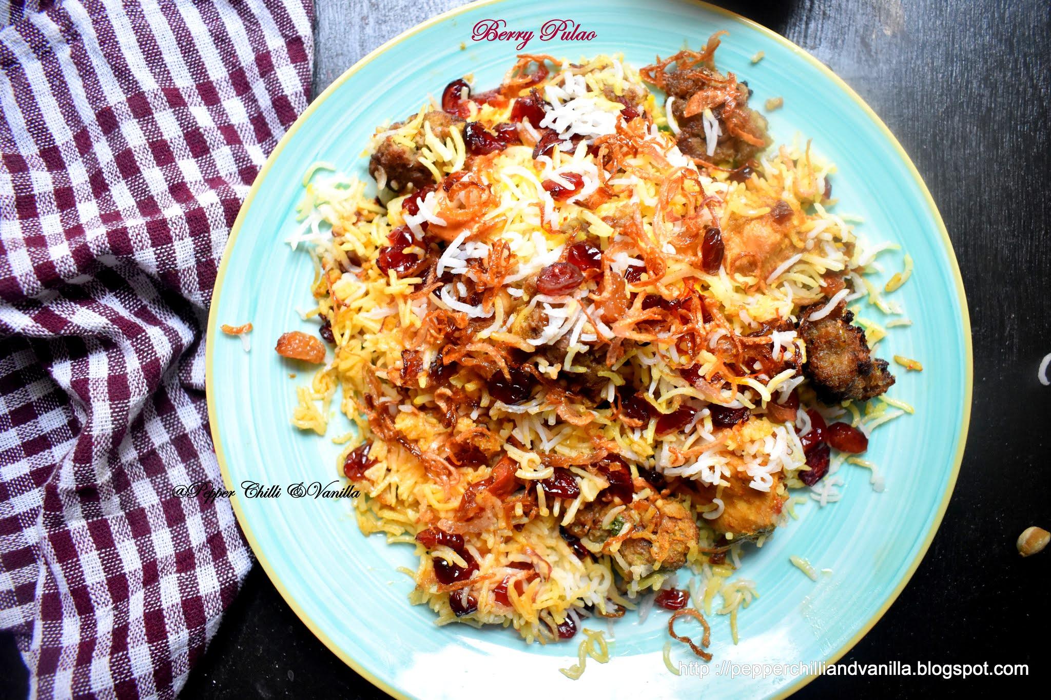 easy berry pulao, berry pilaf ,chicken berry pulao recipe