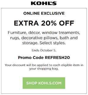 Kohls coupon 20% Off Patio Furniture, Decor, Rugs