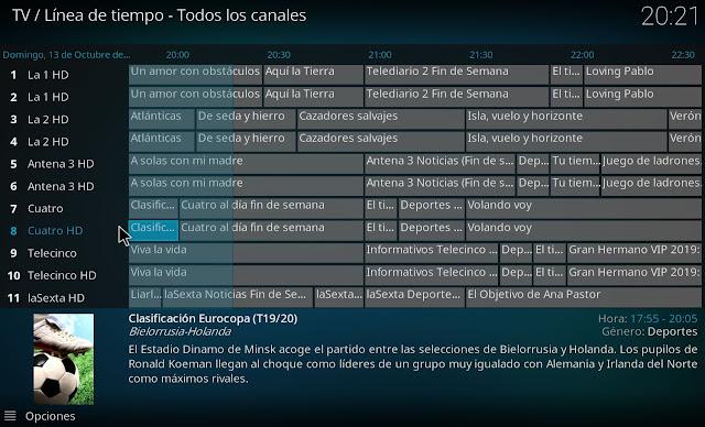 Parrilla EPG con canales nacionales
