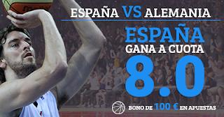 Paston Megacuota 8 Eurobasket: España vs Alemania + 100 euros 12 septiembre