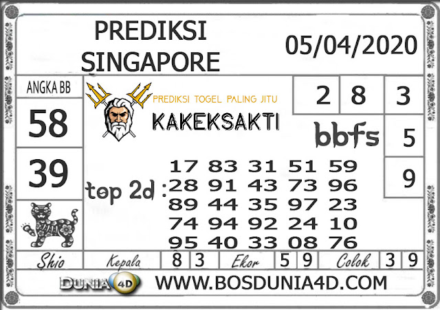 Prediksi Togel SINGAPORE DUNIA4D 05 APRIL 2020