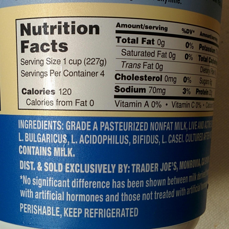 trader joe's nutrition labels: trader joe's greek yogurt nonfat plain