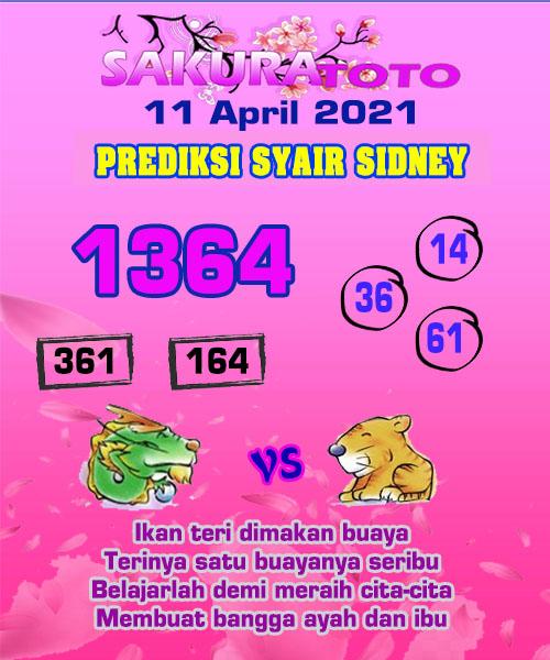 Syair Sakuratoto Sidney Minggu 11 April 2021