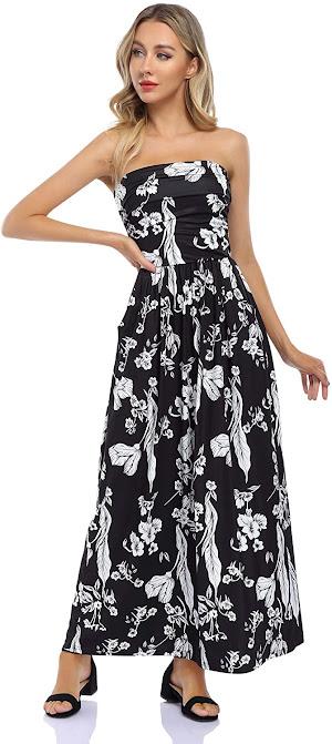 Elegant Black Strapless Maxi Dresses for Summer