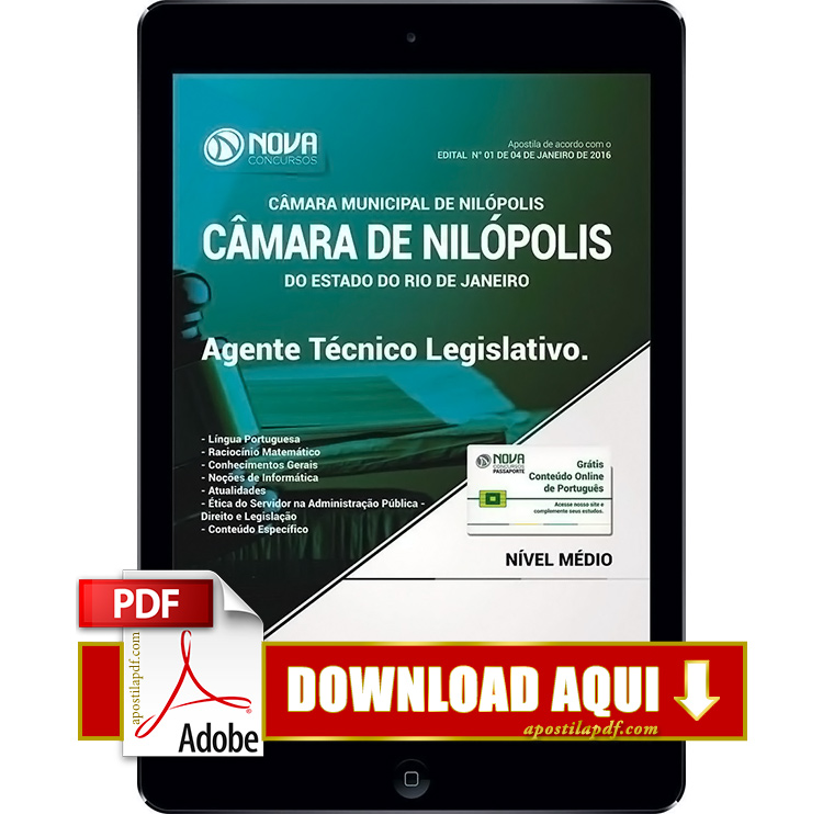 Apostila Nilópolis RJ 2017 PDF Download Agente Técnico Legislativo
