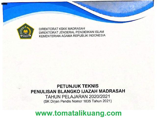 Download Juknis Penulisan Blangko Ijazah Madrasah Tahun 2021 PDF (SK Dirjen Pendis No. 1853 Tahun 2021)