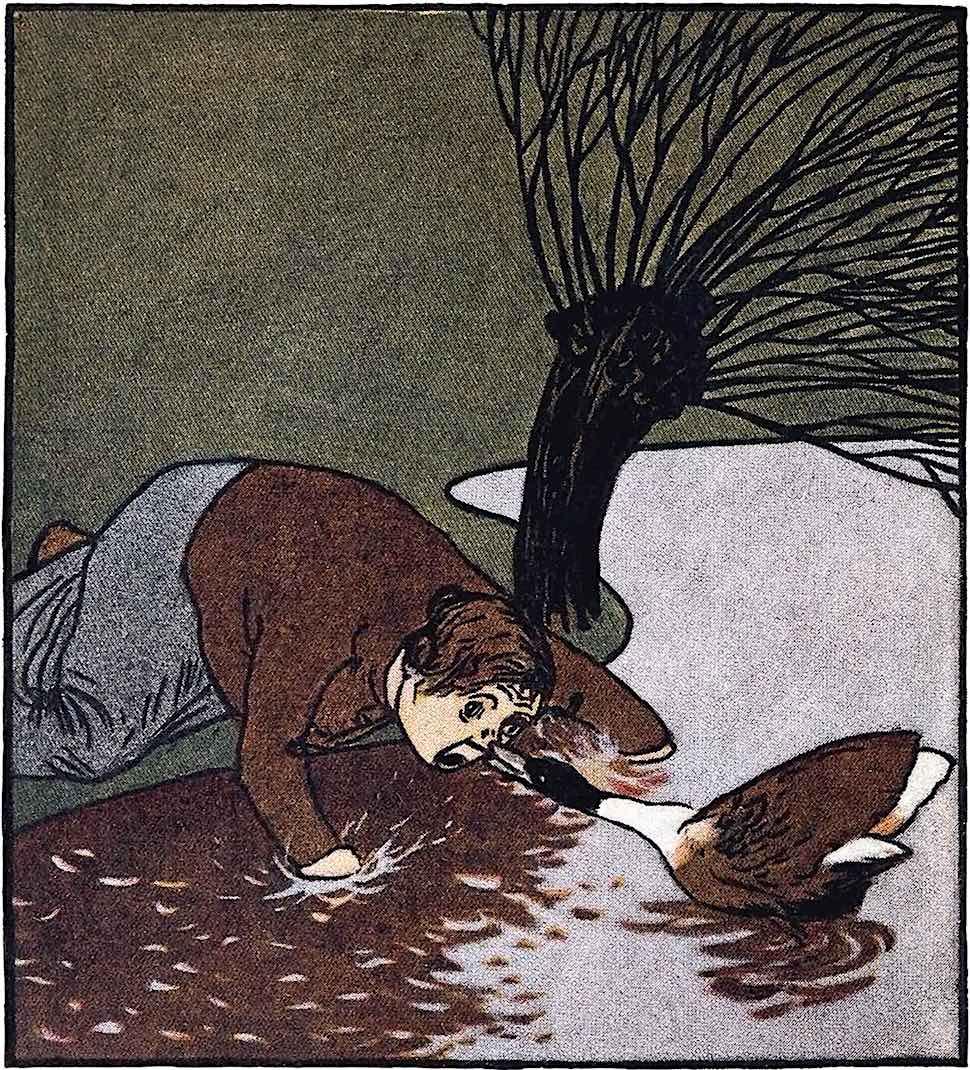 Albert Weisgerber, goose attacks woman
