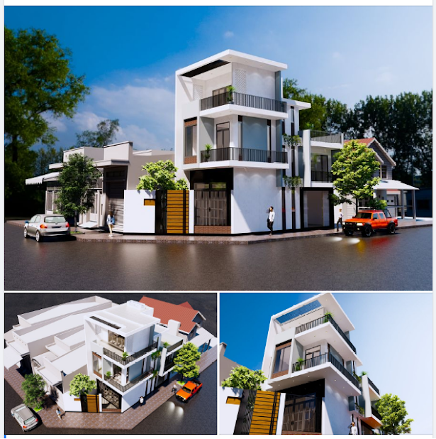 Tổng hợp các view khác nhau của công trình nhà ở hiện đại 2 mặt tiền