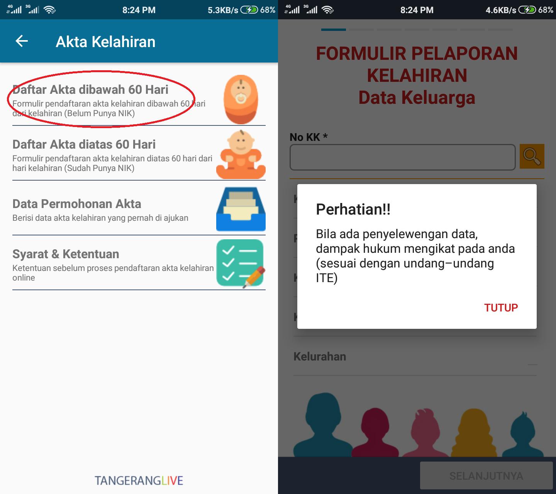 Tips Membuat Akte Lahir Online Area Tangerang Kota Bonus Kartu Keluarga