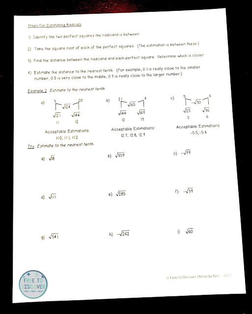 Estimating radicals notes