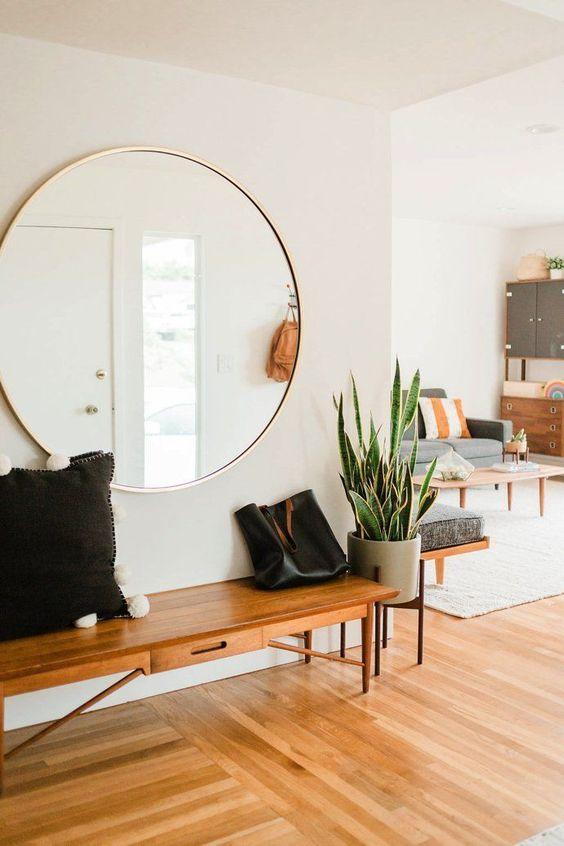 best home decoration idea with a round mirror