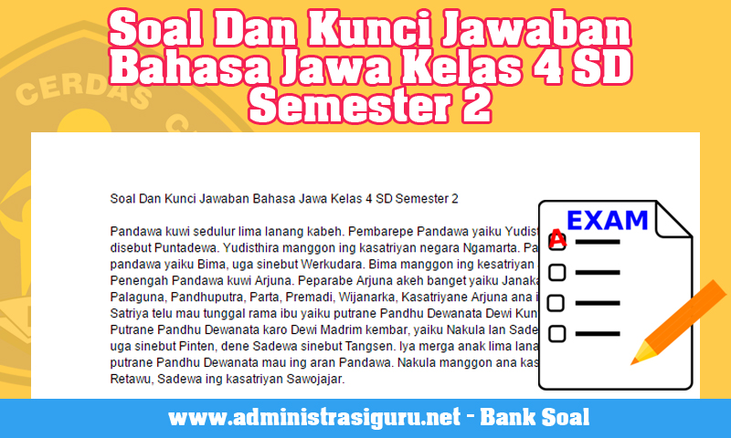 Soal Dan Kunci Jawaban Bahasa Jawa Kelas 4 SD Semester 2