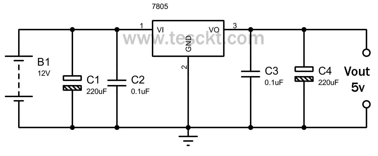 12v to 5v converter circuit using 7805