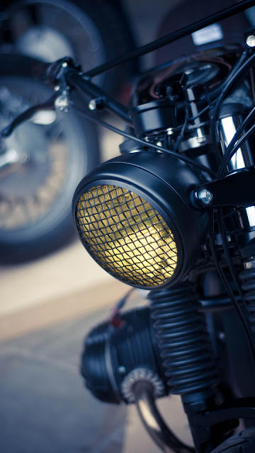 Motorcycle upholstery round headlights
