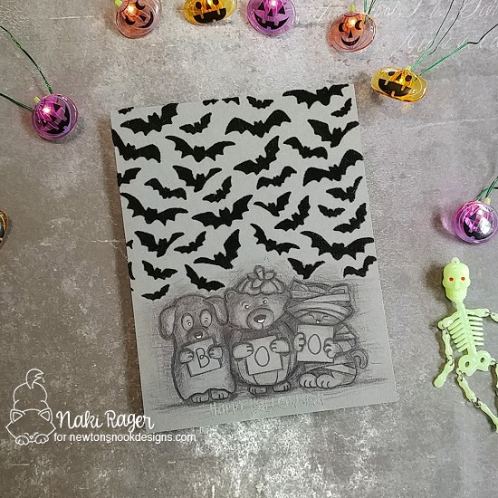 Newton's Nook Designs & Therm O Web Inspiration Week - Monochromatic Halloween card by Naki Rager | Flying Bats Stencil and Halloween Trio Stamp Set by Newton's Nook Designs | Flock Transer Sheets by Therm O Web #newtonsnook #thermoweb
