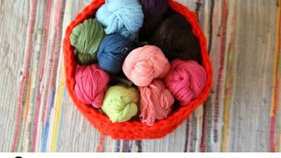 Cesto de Crochet para las Lanas sobrantes