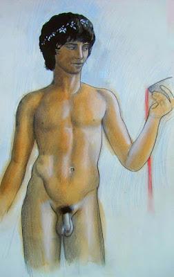 Fellini, Satyricon, Petrone, Bacchus, Dionysos, androgyne, nu, giton, dessin, fresque, Rome