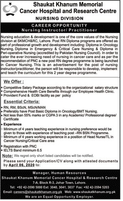 Career Opportunity Shaukat Khanum Memorial Cancer Hospital and Research Center Lahore
