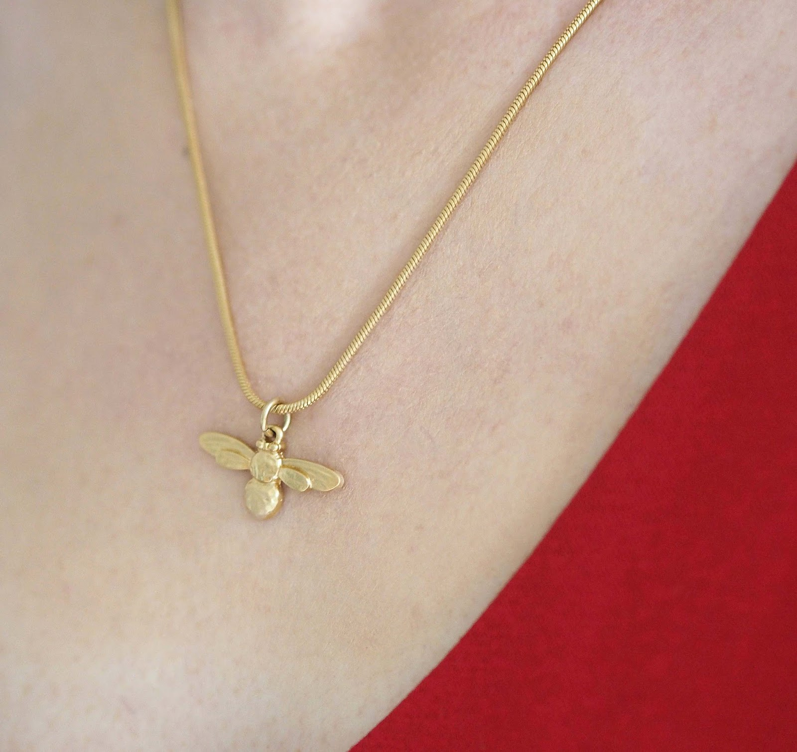 Danon gold honey bee necklace