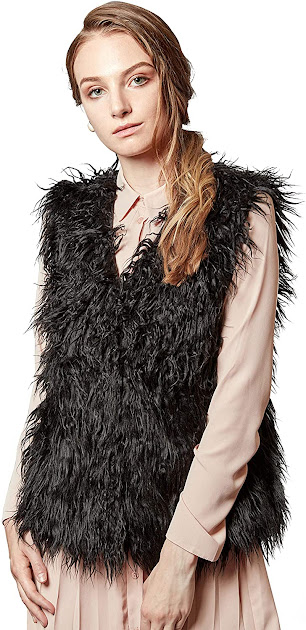 Elegant Black Faux Fur Vests for Women