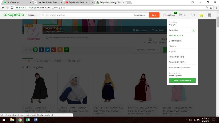 klik tambah produk di Tokopedia