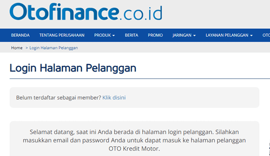 halaman pelanggan oto finance untu cek sisa angsuran