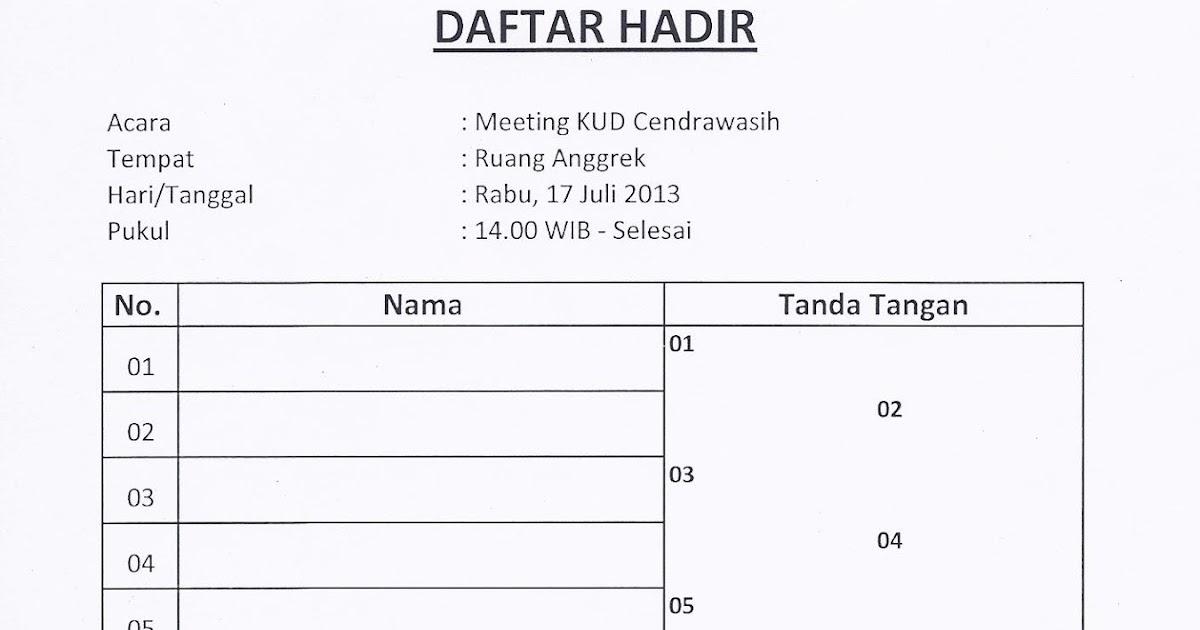 Catatan Iseng: Contoh Daftar Hadir Meeting