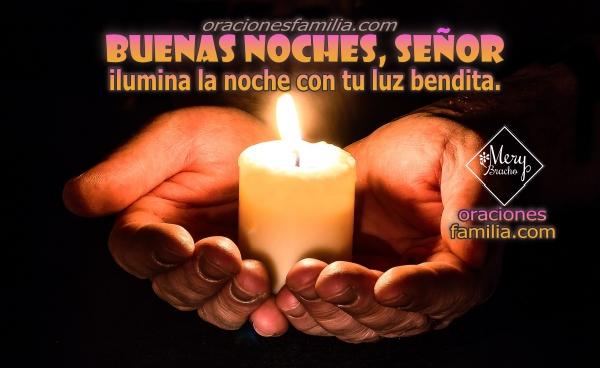 imagen con manos y vela oracion de la noche buenas noches