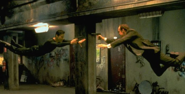 Neo faces off against Agent Smith in The Matrix