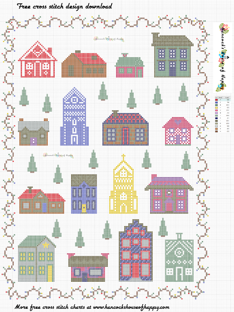 Free Cross Stitch Sampler Pattern. Modern Christmas Village Cross Stitch Design to Download.