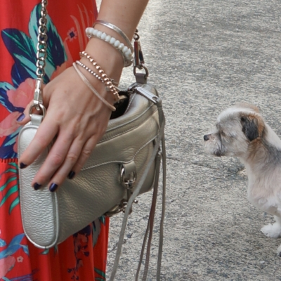 beaded bracelet stack, Rebecca Minkoff silver mini MAC bag | awayfromtheblue