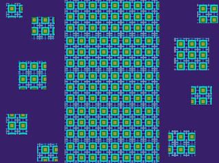 gemusterte Quadrate vor violettem Hintergrund